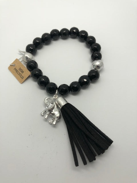 Black and Silvertone Elephant Charm Tassel Beaded Stretch Bracelet