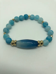 Blue Beaded Goldtone with Stone Charm Stretch Bracelet