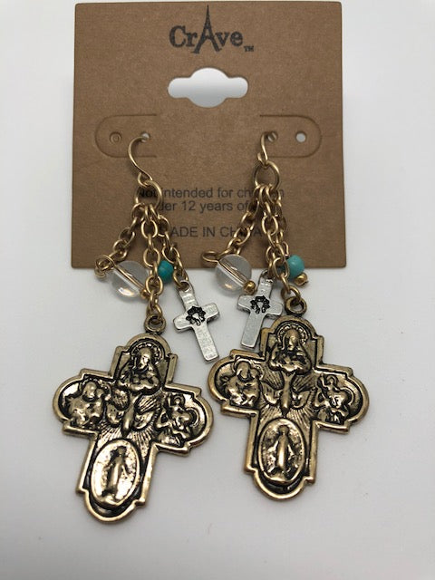 Cross Bead Gold Dangle Earrings