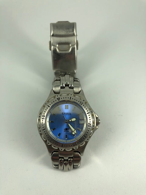 Fossil Silver Blue Face Women's Watch (used)