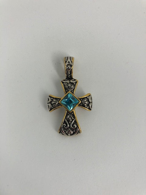 Cross Necklace Pendant with Stone (used)