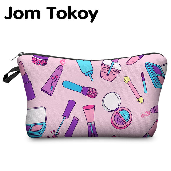 Jom Tokoy 2017 New Fashion 3D Printing Women Travel Makeup Case Fashion Brand Cosmetic Bags