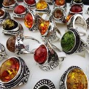 Fashion Large Vintage Amber Antique Silver Rings