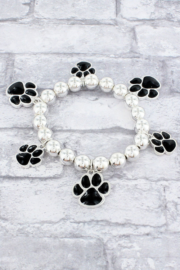 Black and Silvertone Paw Print Beaded Stretch Bracelet