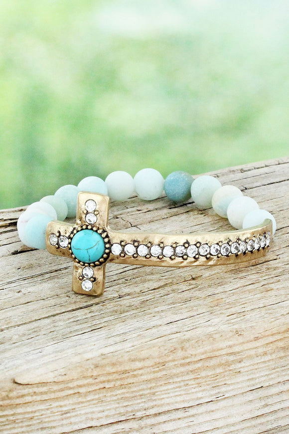 Goldtone Crystal Cross Amazonite Beaded Stretch Bracelet