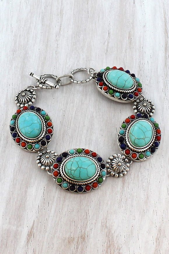 Multi-Color Bead and Burnished Silvertone Concho Toggle Bracelet