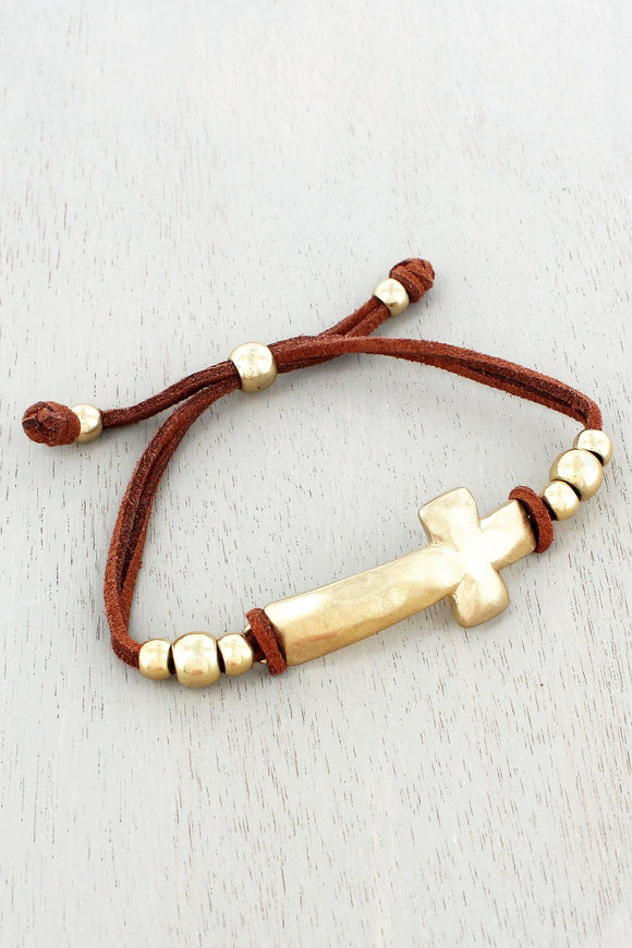 Worn Goldtone Cross Brown Cord Bracelet