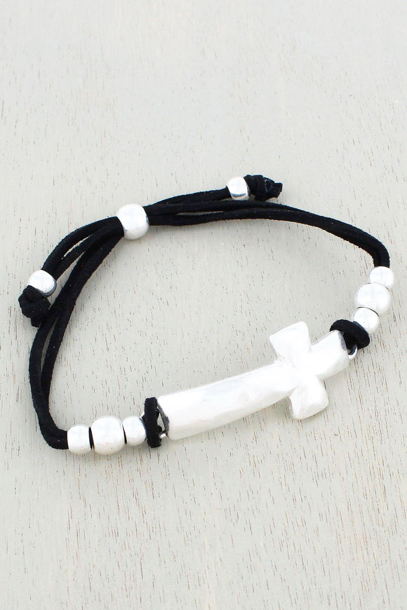 Worn Silvertone Cross Black Cord Bracelet