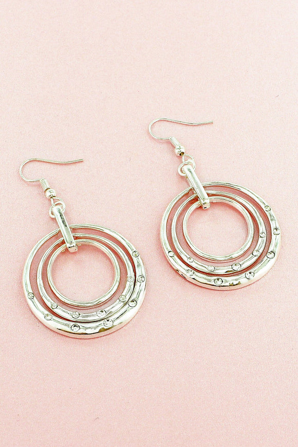 SILVERTONE LAYERED CRYSTAL ACCENTED CIRCLE EARRINGS