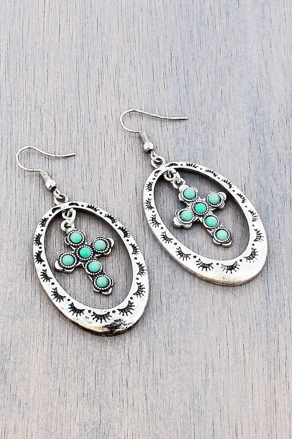 Burnished Silvertone and Turquoise Bead Dangling Cross and Oval Hoop Earrings