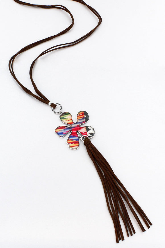 Southwestern Collage Flower and Faux Suede Tassel Pendant Necklace