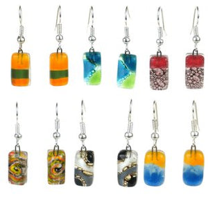 Small Rectangular Glass Earrings