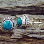 Natural Gemstone Turquoise 925 Sterling Silver Stud Earring