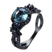 Aquamarine CZ  Women's Ring - Flower - Blue