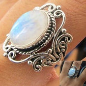 Antique Jewelry Sterling Silver Rainbow Moonstone Ring