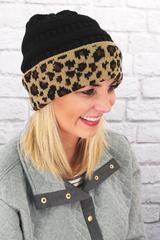 Black Cable Knit Leopard Cuff Beanie