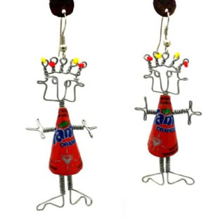 Dancing Girl Earrings - Bottle Cap Body