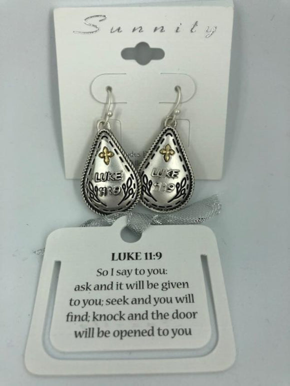 Two-Tone Luke 11:9 Teardrop Earrings