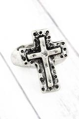 Burnished Silvertone Cross Ring