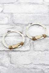 Silvertone with Goldtone Wire-Wrapped Megaphone Hoop Earrings