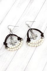 Faux Leather and Pearl Bead Earrings with Burnished Silvertone Cross Charms