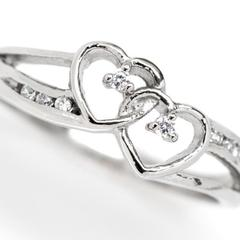 I Am My Beloved's  Women's Double Heart Ring