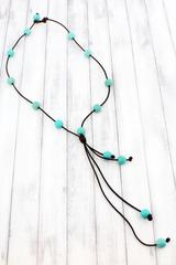 Faux Leather Cord and Turquoise Bead Tassel Toggle Necklace