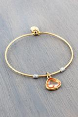 Worn Goldtone with Rose Crystal Charm Bangle