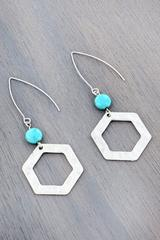 Worn Silvertone Hexagon and OPAL Bead Threader Earrings