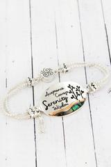 Two-Tone and Abalone Serenity Prayer Magnetic Bracelet