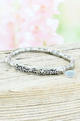 Silvertone 'Believe in Yourself' Bar with Charm Stretch Bracelet