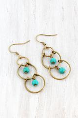 Dangling Turquoise Bead and Worn Goldtone Linked Circle Earringss
