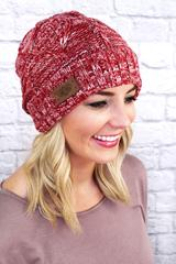 Fleece Lined Knit Beanie, Multi Pink
