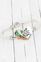 Two-Tone and Abalone 'Psalm 46:10' Magnetic Bracelet
