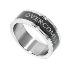Overcomer  Black Channel Ring - Unisex