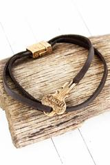 Burnished Goldtone 'Hope' Key Brown Cord Magnetic Bracelet