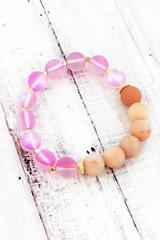 Peach Semi Precious and Aurora Glass Bead Stretch Bracelet