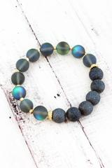 Dark Blue Semi Precious and Aurora Glass Bead Stretch Bracelet