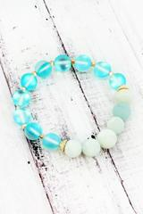 Amazonite and Aurora Glass Bead Stretch Bracelet