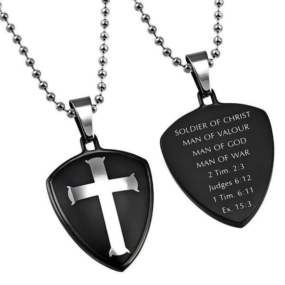 'Man Of War' - Black R2 Shield Cross Necklace