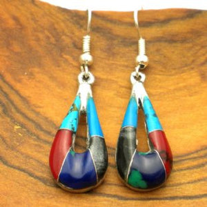 Silver Turquoise and Stone Drop Earrings