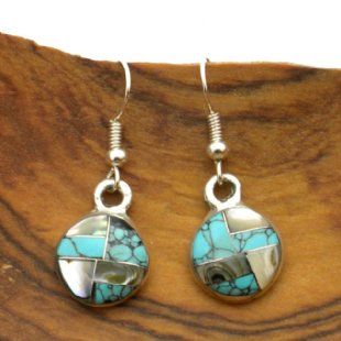 Round Turquoise and Abalone Mosaic Silver Earrings