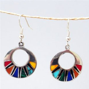 Silver Mosaic Inlaid Earrings