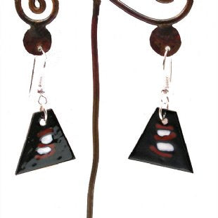 Triangular Enamel on Copper Earrings - One Design