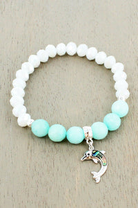 Silvertone and Abalone Dolphin Charm Beaded Stretch Bracelet