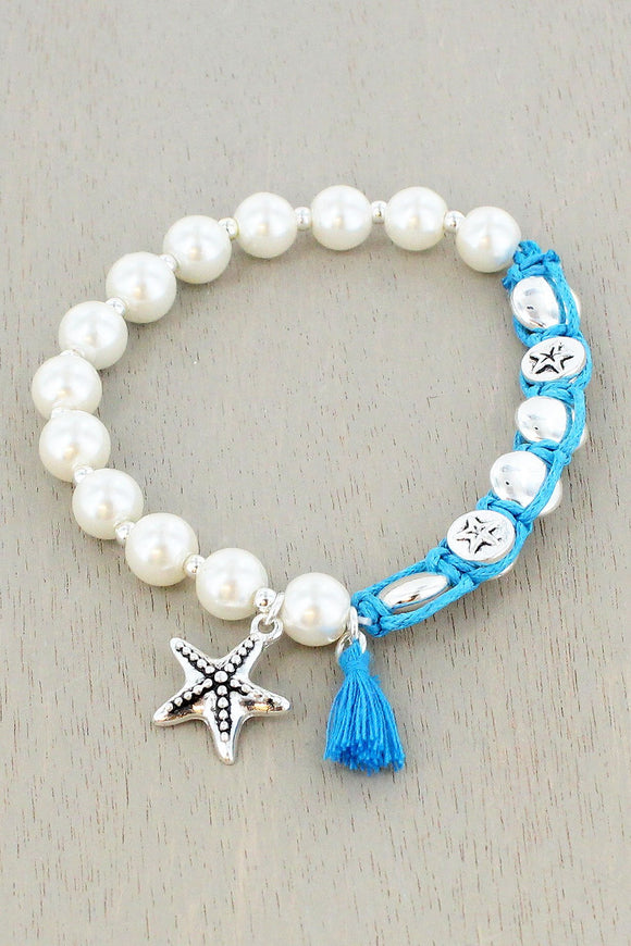 Pearl and Blue Cord Tassel & Starfish Charm Bracelet