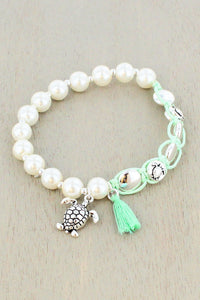 Pearl and Mint Cord Tassel & Turtle Charm Bracelet