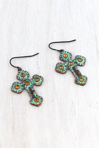 Topaz Crystal Accented Patina Coppertone Cross Earrings