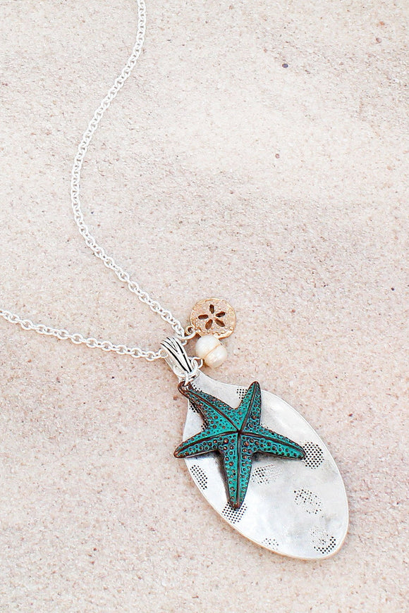 Tri-Tone Starfish and Spoon Pendant Necklace