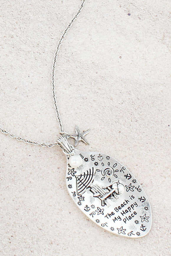 Burnished Silvertone 'My Happy Place' Beach Chair Spoon Pendant Necklace